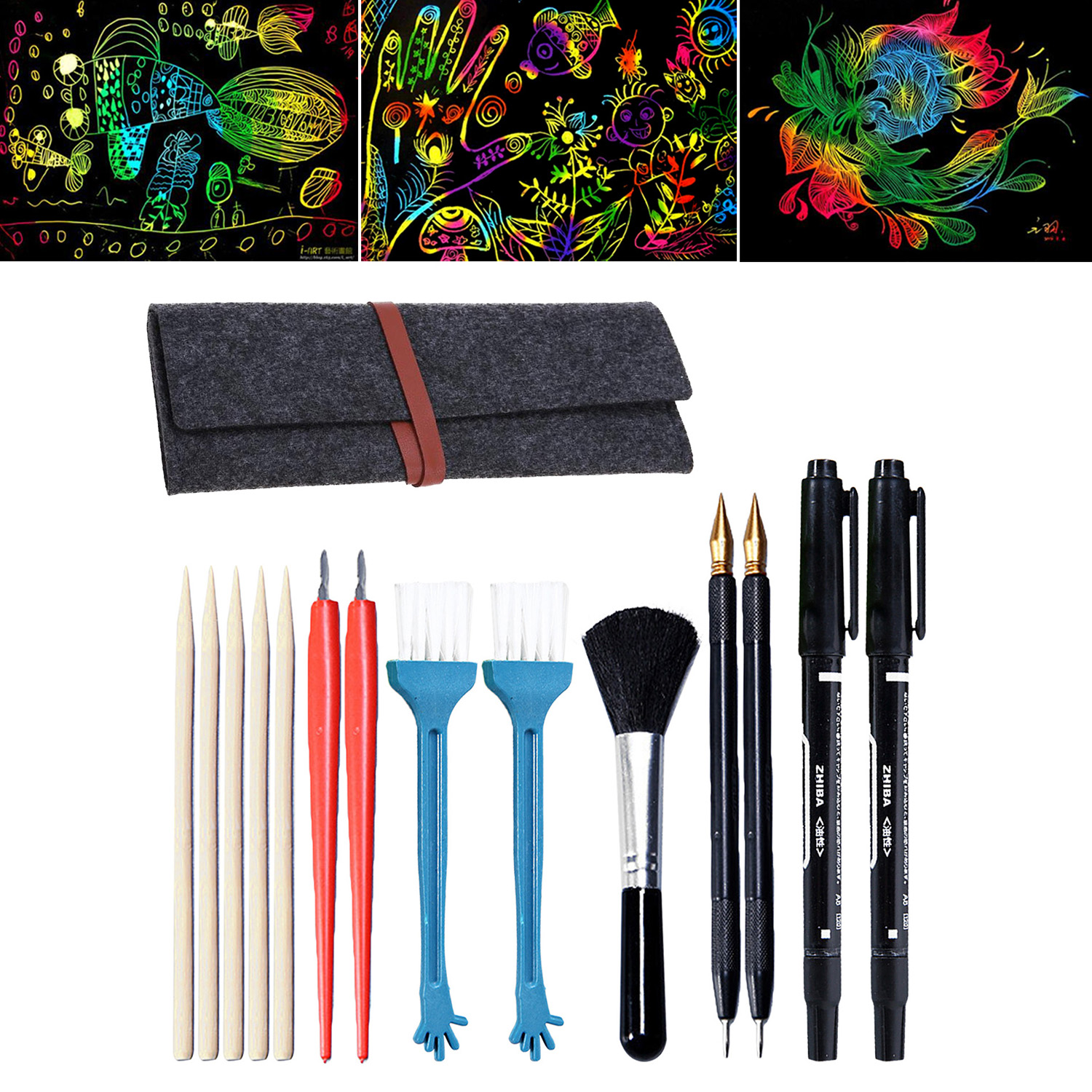 15Pcs Painting Drawing Scratch Tools Set With Bamboo Sticks Scraper Scratch Pen Brush Storage Bag For Kids DIY Scratch Toys
