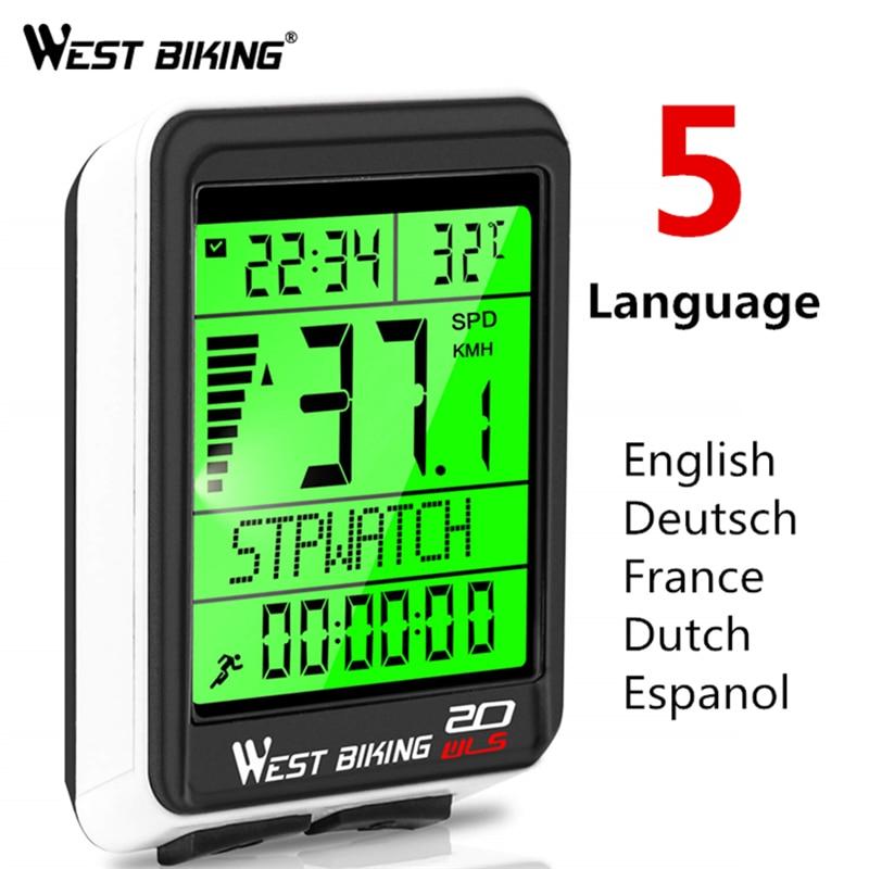 West Fietsen Waterdicht Fiets Computer Draadloze 5 Taal Fiets Kilometerteller Stopwatch Snelheidsmeter 2.1ins Led Fiets Computer