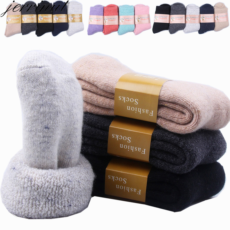 Jerrinut Women's Winter Warm Wool Socks Men's Cotton Funny Happy Casual Solid Color Compression Sports For Couples Socks 1Pair