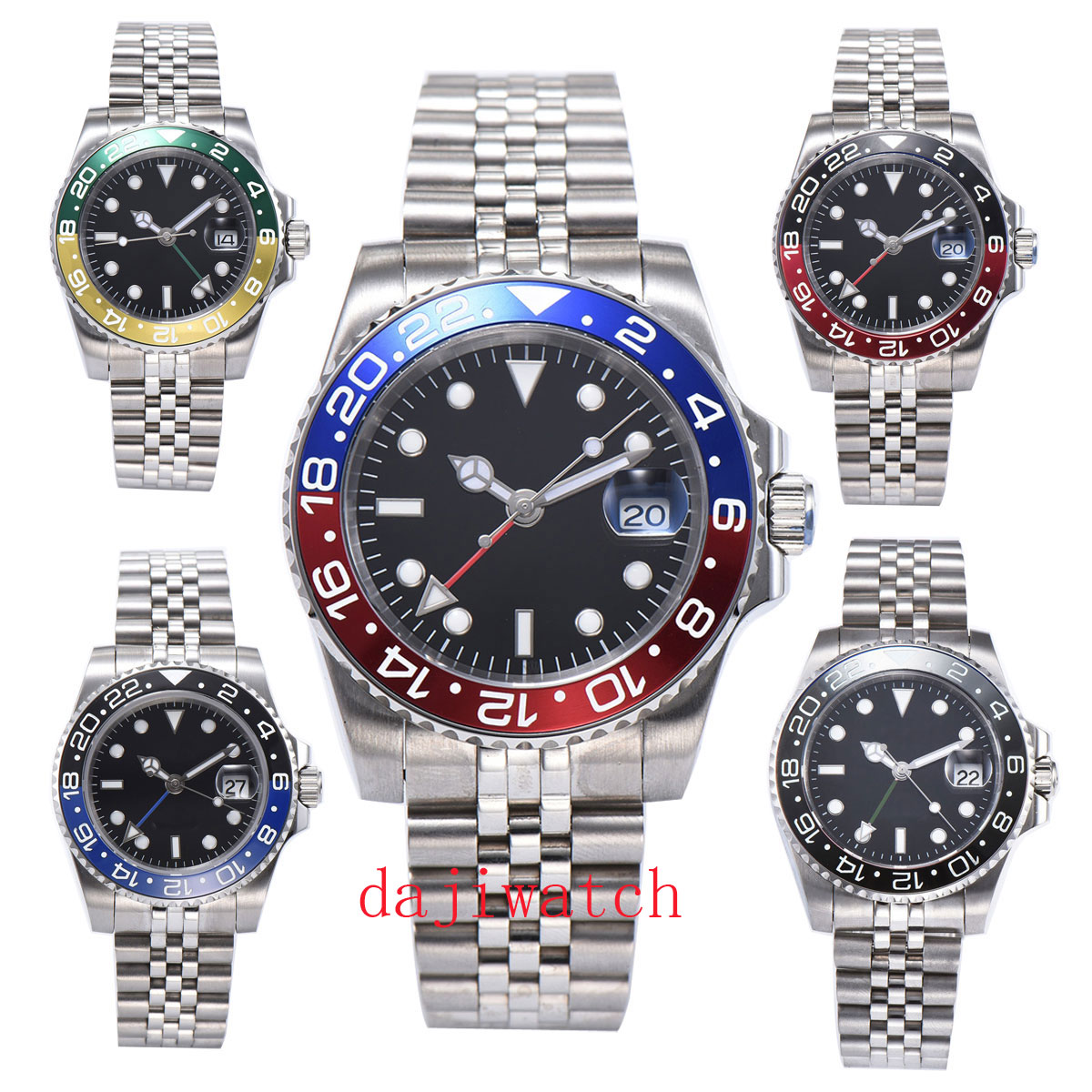 40mm Panis black dial luminous sapphire glass ceramic bezel GMT automatic watch male luxury brand top mechanical watch