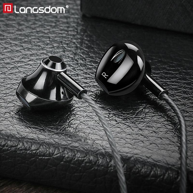 Langsdom Metal Earphone Headphones With Mic 3.5MM Wired Stereo Headset Hifi In Ear Earphones For Phone Xiaomi Fone De Ouvido