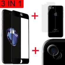 Protector de cristal templado 3 en 1 para iPhone SE 2 2020, Protector de pantalla de cristal para iPhone SE 2020