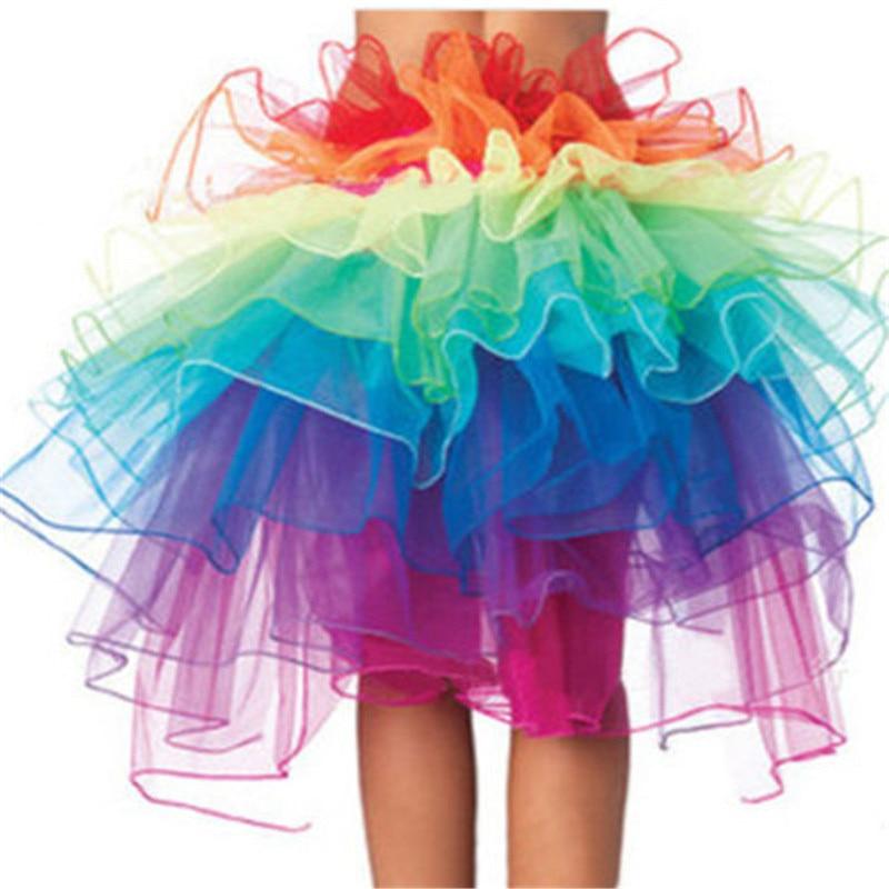 Rainbow Women Princess Ballet Tulle Tutu Skirts Female Party Prom High Waist Short Beach Dresses Girls Mini Ball Gown Skirt Lady