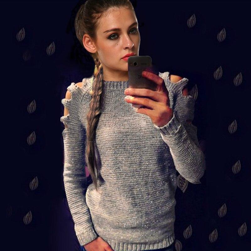 Женские свитера и пуловеры, тонкий вязаный свитер с вырезом на плечах и вырезом лодочкой