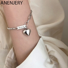 ANENJERY Vintage Handmade Love Heart Bracelet for Women Thai Silver Color Charm Bracelet With S925 Stamp Jewelry Gift S-B397