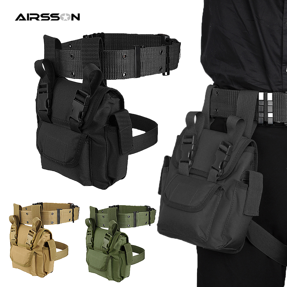 Tactical Molle Drop Leg Bag Waterproof Men Military Waist Pack Quick Release Belt EDC Fanny Pack Hunting Cycling Accessories