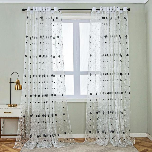 Bird Nest Sheer Curtains With Dots 2