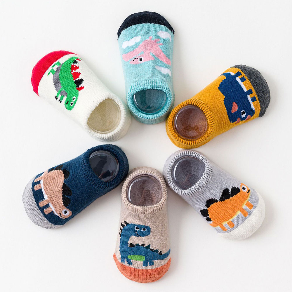 6 Pair Baby Floor Socks For Toddler Cute Baby Girls Boys Cartoon Animal Dinosaur Thick Warm Socks Kids Christmas Anti-Slip Socks