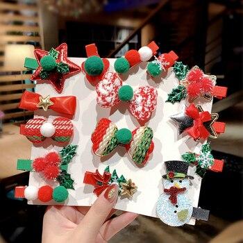 5 Pieces Set Merry Christmas Girls Cute Santa Claus Snowman Hairpin Hair Clip 3