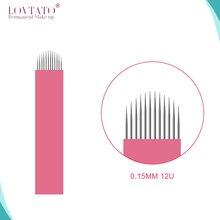12U Forme Microblading Aiguilles Dia 0.15mm Tebori Lames D'aiguille De Tatouage Permanent Makeup12-U Forme Sourcil Manuel Nano Microblade