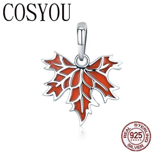 COSYOU Аутентичные 100% стерлингового серебра 925 осенние листья клена ожерелье серьги ювелирный набор стерлингового серебра подарок ювелирных