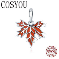 COSYOU Authentic 100% 925 Sterling Silver Autumn Maple Tree Leaves Necklace Earrings Jewelry Set Sterling Silver Jewelry Gift