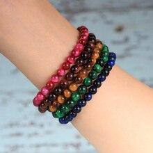 6/8mm Natural Tiger Eye Stone Beaded Couple Bracelet 2020 Fashion BOHO Jewelry Gift For Men Women Lover