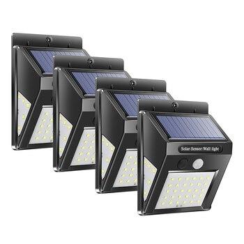 1/2/4 pces 30/40 led lâmpada de energia solar pir sensor de movimento ativado lâmpada solar à prova dwaterproof água ao ar livre jardim segurança parede luz