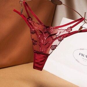 G-String Panties Lace Women's Underwear Rose Transparent Panties Ladies' Underpant Low Waist Thong Sexy Lingerie for Women