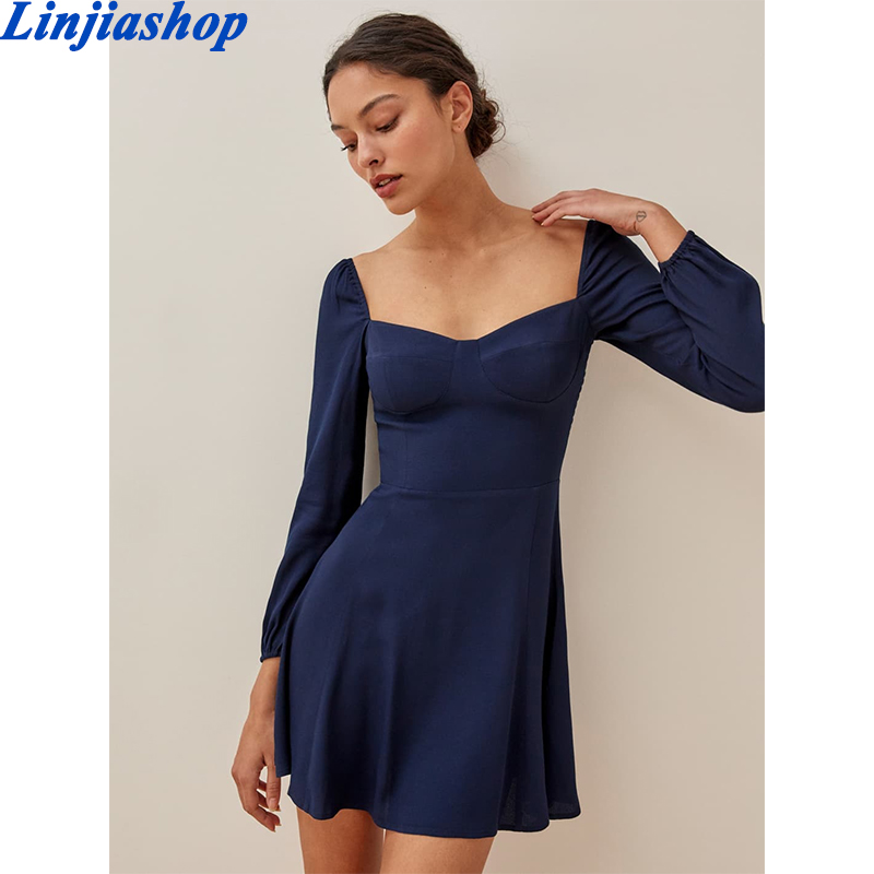 Vintage Solid Color Women Dress Sexy Square Neck Long Sleeve A-line Chiffon Dress Casual Summer Mini