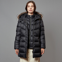 Escalier Womens Down Jacket with Real Fur Hooded Winter Parka Coat