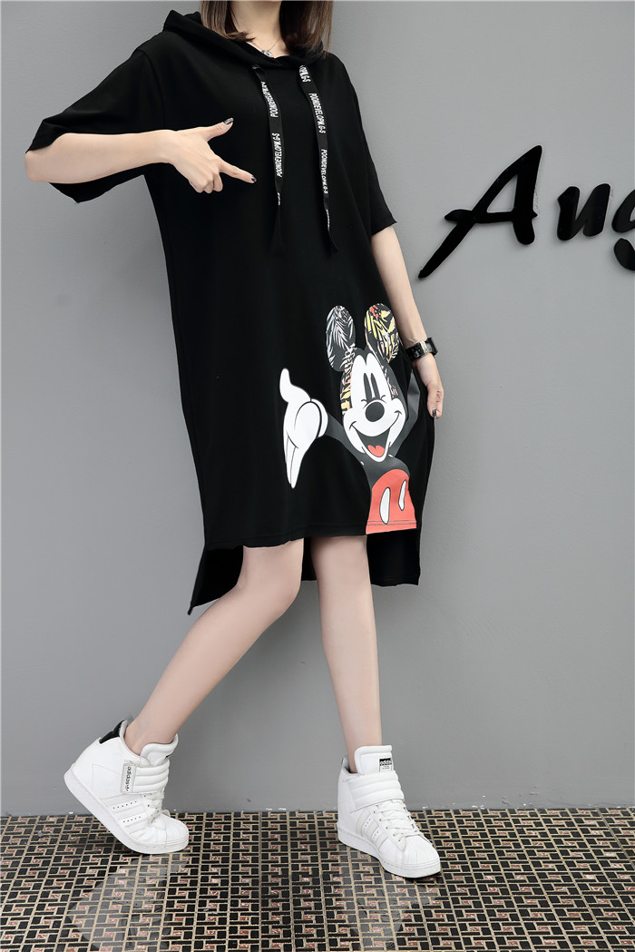 H94b13202180749dcb4f42ba15d292701N - New Runway short sleeve Hooded Sweatshirt dress casual mickey cartoon printed women femme oversize dresses vestidos