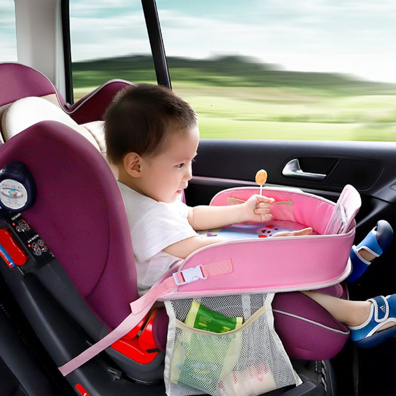 New Baby Car Tray Plates Portable Waterproof Dining Drink Table For Kids Car Seat Child Cartoon Toy Holder Storage Baby Fence
