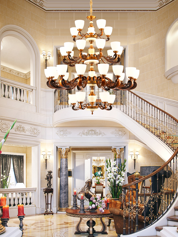 Alliage de Zinc européen de luxe LED lustre éclairage Jade salon Villa grande lampe suspendue hall de l'hôtel composé bâtiment luminaire