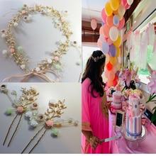 Свадебный кусок золотые ветви керамические цветочные волосы платье комплект заколок Свадебные тиара украшения невесты Свадебные аксессуары для волос