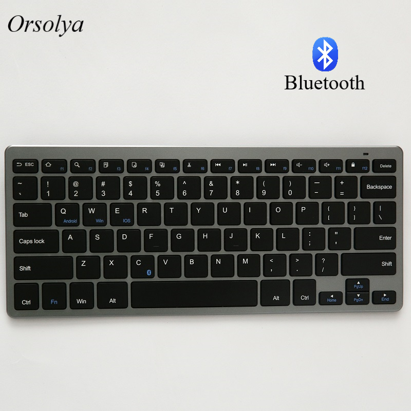 Russian/Spanish/Arabic/English Bluetooth Wireless keyboard for Tablet/Laptop/Smartphone,Support IOS/Windows/Android Silver/Grey image