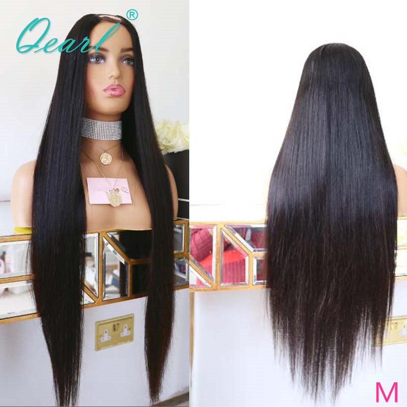 Straight Human Hair Natural Wigs 2x4 U Part Wig Middle Opening for Women Peruvian Remy Hair Long 28