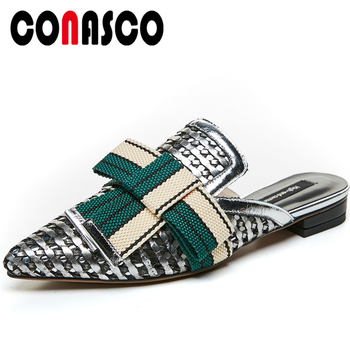 CONASCO New Genuine Leather Women Sandals Fashion Butterfly-Knot Mules Low Heels Slippers Summer Casual Flat With Shoes Woman