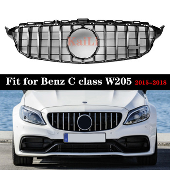 Chrome GT Silver Racing Grills For Mercedes Benz C Class W205 c200 c250 c300 2015-2018 Grille Without Camera