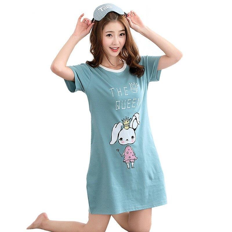 Summer New Cotton   Nightgown   Women Sweet Girl Loungewear Cute Nightdress Sleepwear Home Dress Casual Nightwear   Sleepshirts   Shirt