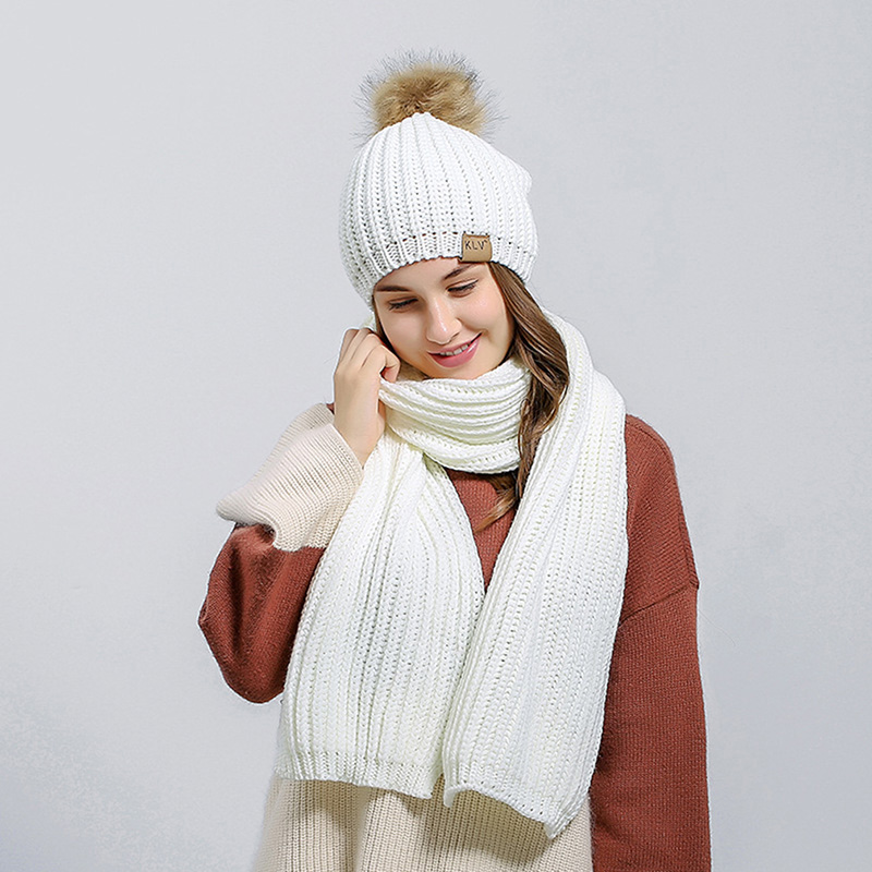 Autumn Winter Women Knitted Hat Scarf Sets 2019 Fashion Solid Women Fur Pompom Hat Thick Warm Beanies Female Knitted Scarves