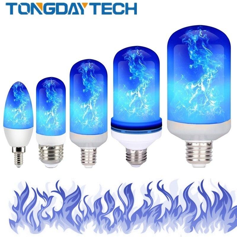 Lampara LED E27 E26 E14 E12 bombilla Led efecto Fuego Azul 85-265V Led Luces LED Decoracion Lampara luz parpadeante Lámpara LED de noche con Sensor de movimiento PIR, lámpara LED de noche, lámpara de techo para sala de estar