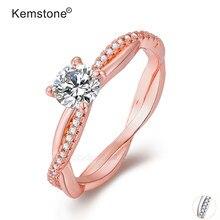Женское медное кольцо Kemstone, позолоченное и серебряное кольцо с фианитом