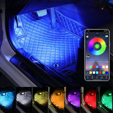 RGB Car Foot Light Ambient Lamp With USB Wireless Remote Atmosphere Strip Light Music Control Multiple Modes Interior Decorative