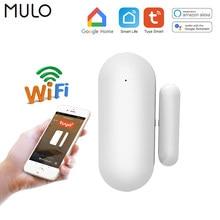 MULO Smart life-Sensor de puerta con WiFi, detector de ventana Tuya, alerta de notificación, alarma de seguridad, funciona con Alexa y Google