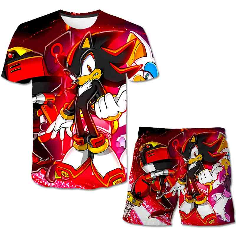 Summer Sonic the Hedgehog T-Shirt 3D Baby Boy Clothing Set Cute Cartoon Children Boys Clothes tops Shorts Suit for Kids Outfit 4