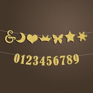 Image 2 - Bebek kişiselleştirilmiş adı Banner, erkek ya da kız doğum günü partisi dekor, bebek duş duyuru altın Glitter süslemeleri malzemeleri