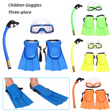 Kids Diving 3 Pieces Suit Mask Fins Set Anti-fog Snorkel Swimming Equipment Children Goggles Swim Flippers