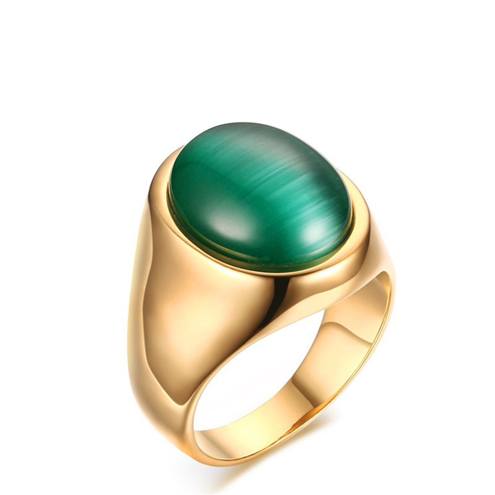 Green emerald gemstones Opal rings for men 18k gold color titanium stainless steel diamond party jewelry birthday gifts bijoux