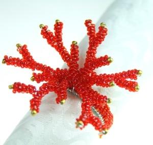 Image 5 - Кольца для салфеток кораллово красного цвета, стеклянный держатель с бисером,
