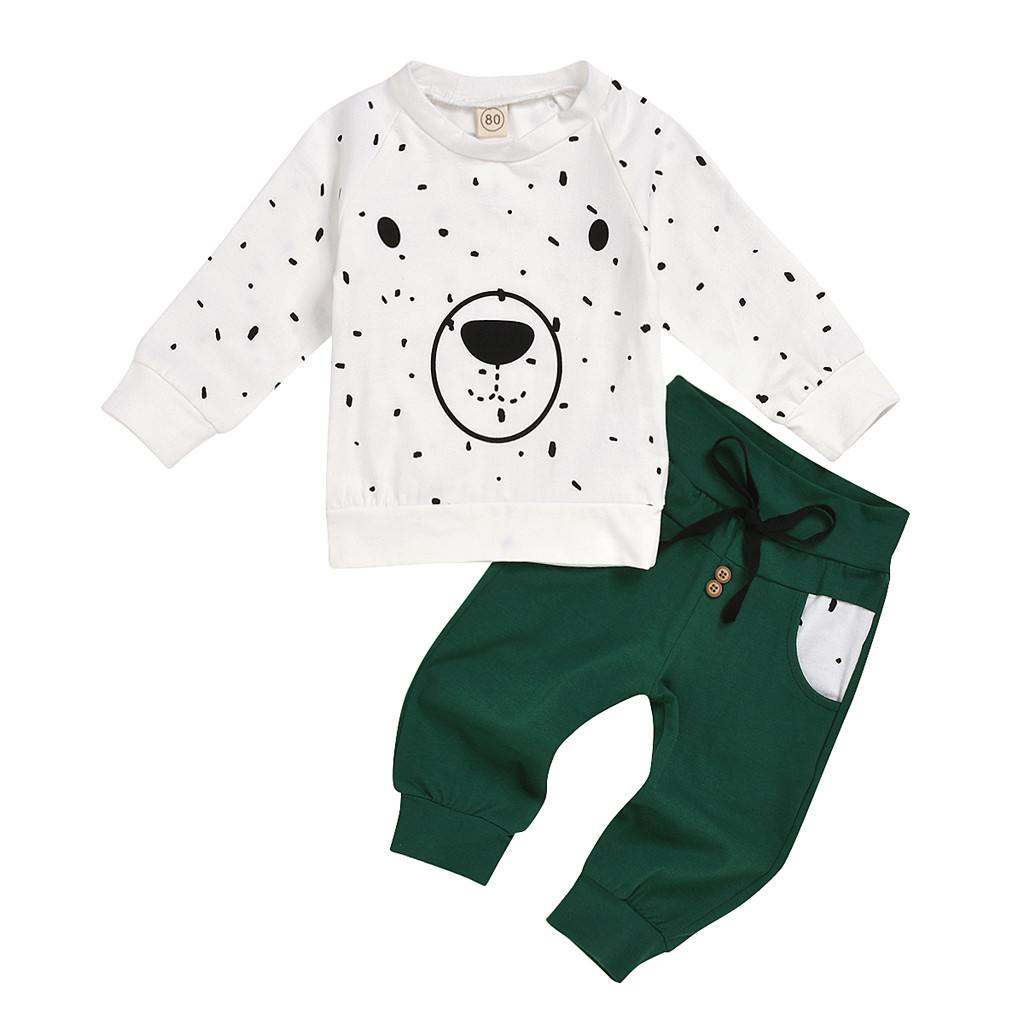 Toddler Baby Kids Boy Girl Cartoon Hoodie Sweatshirt Tops Pants Clothes Set