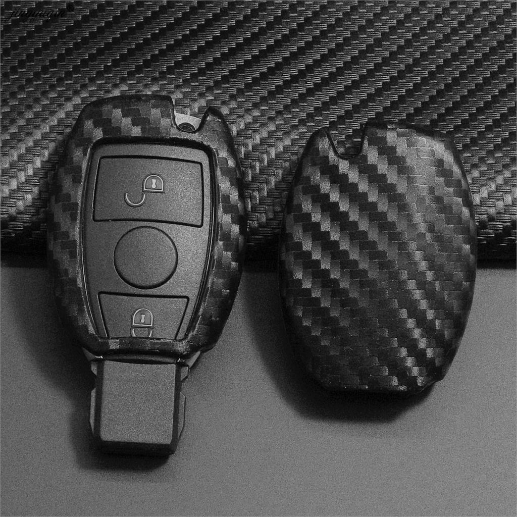 Jingyuqin karbon erkekler araba anahtar çantası Mercedes Benz BGA AMG W203 W210 W211 W124 W202 W204 W205 W212 W176 silikon kapak