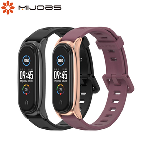 Mi Band 5 Strap Silicone Wristbands for Xiaomi Mi Band 4 Bracelet Correa Metal Wrist Watch for Mi Band 3 4 5 Global Version(China)