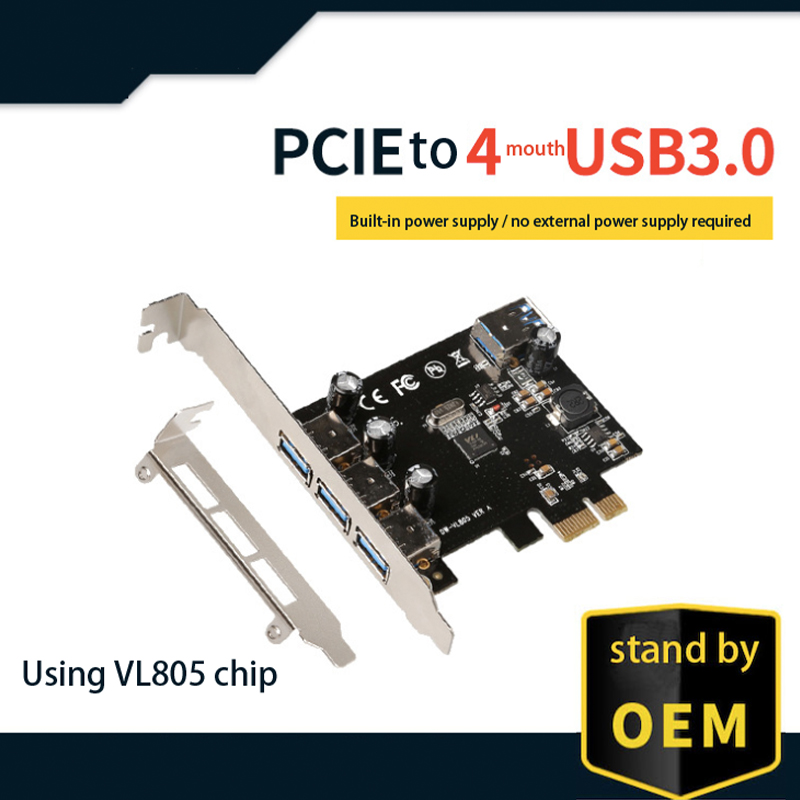 VL805 chipset <font><b>3</b></font> + <font><b>1</b></font> port <font><b>USB</b></font> <font><b>3</b></font>.0 expansion card for VIA <font><b>PCI</b></font> Express X1 to <font><b>3</b></font> external + <font><b>1</b></font> internal PCIe riser cards image