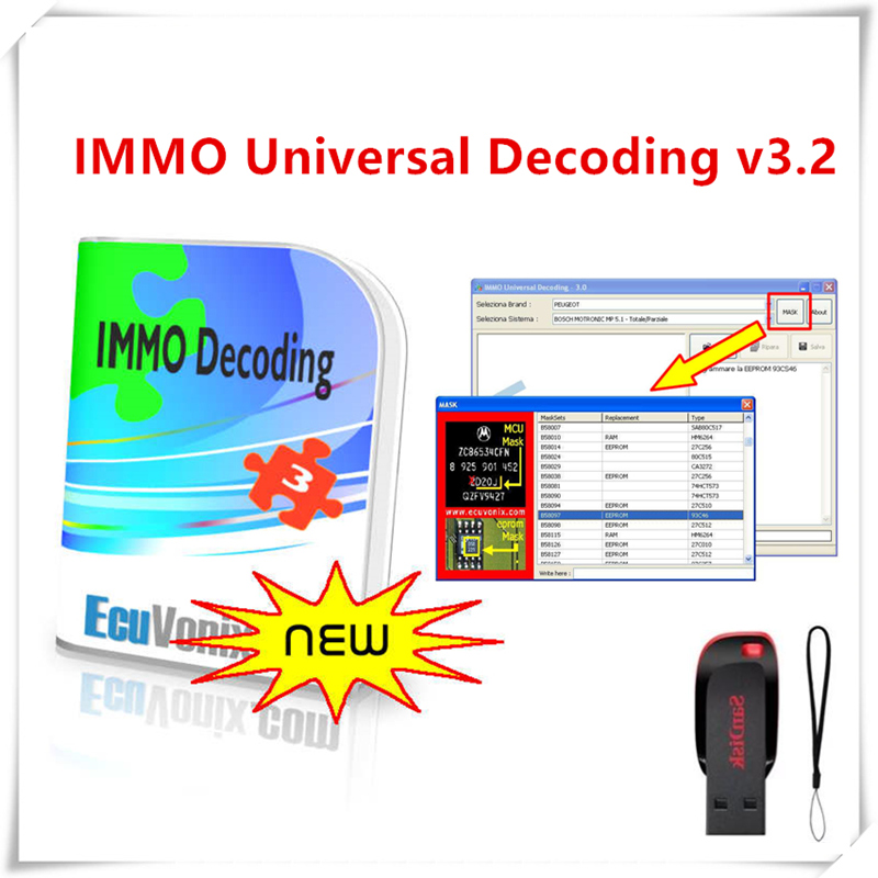 Hot Sell EcuVonix 3.2 IMMO Universal Decoding V3.2 Remove IMMO Off + Keygen Unlimited Crack