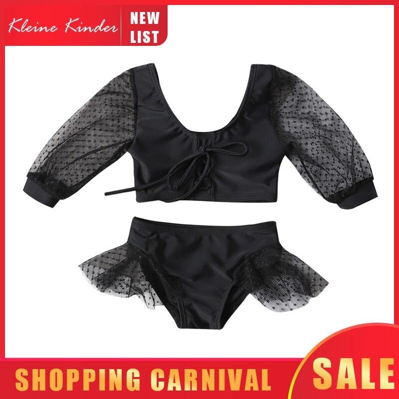 Детский купальник для девочек, цельный купальный костюм с длинным рукавом и кружевом, комплект бикини для маленьких девочек, купальный костюм|Купальные костюмы|   | АлиЭкспресс