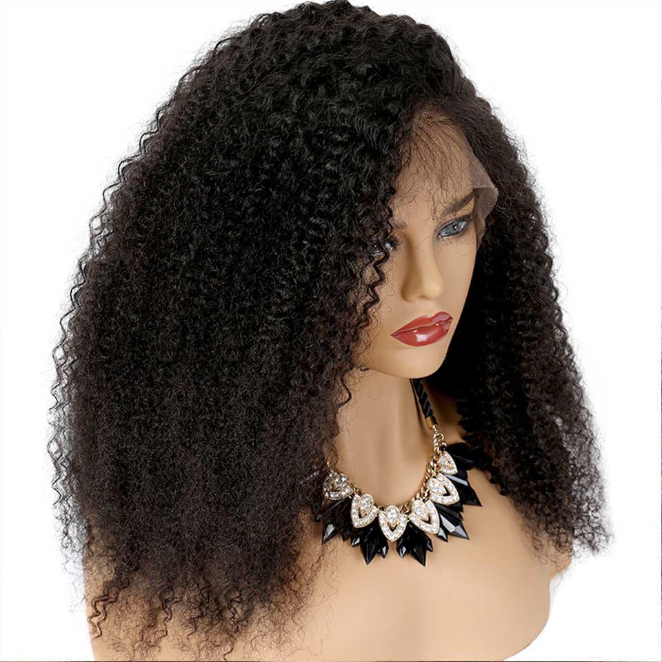 Koronki przodu włosów ludzkich peruk perwersyjne kręcone 250% wysokiej gęstości 13*4 brazylijski peruka z włosów typu remy z naturalnych bielone węzłów wstępnie oskubane