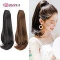 Длинный хвост HUAYA, синтетические волосы, прямой хвост с зажимом, накладные волосы, слегка вьющиеся черные накладные волосы для конского хвос...
