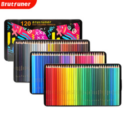 Brutfuner NEW 72/120Colors Oily Color Pencils Square Trendy Pastel Colored Pencil for Drawing Sketch Artist Students Tin Box
