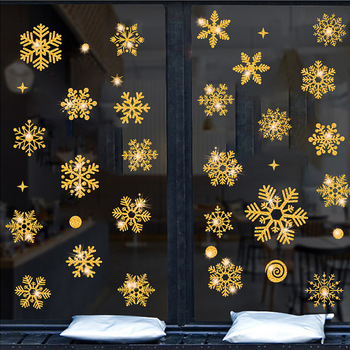 Glitter effect snowflake electrostatic Sticker Window Christmas Wall Stickers Kids room home decoration New Year wallpaper - discount item  24% OFF Home Decor
